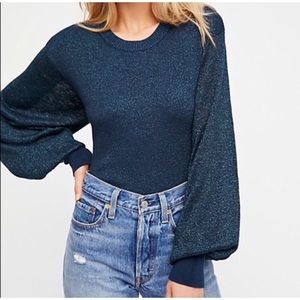 Free People Let It Shine Sparkle Sweater Navy